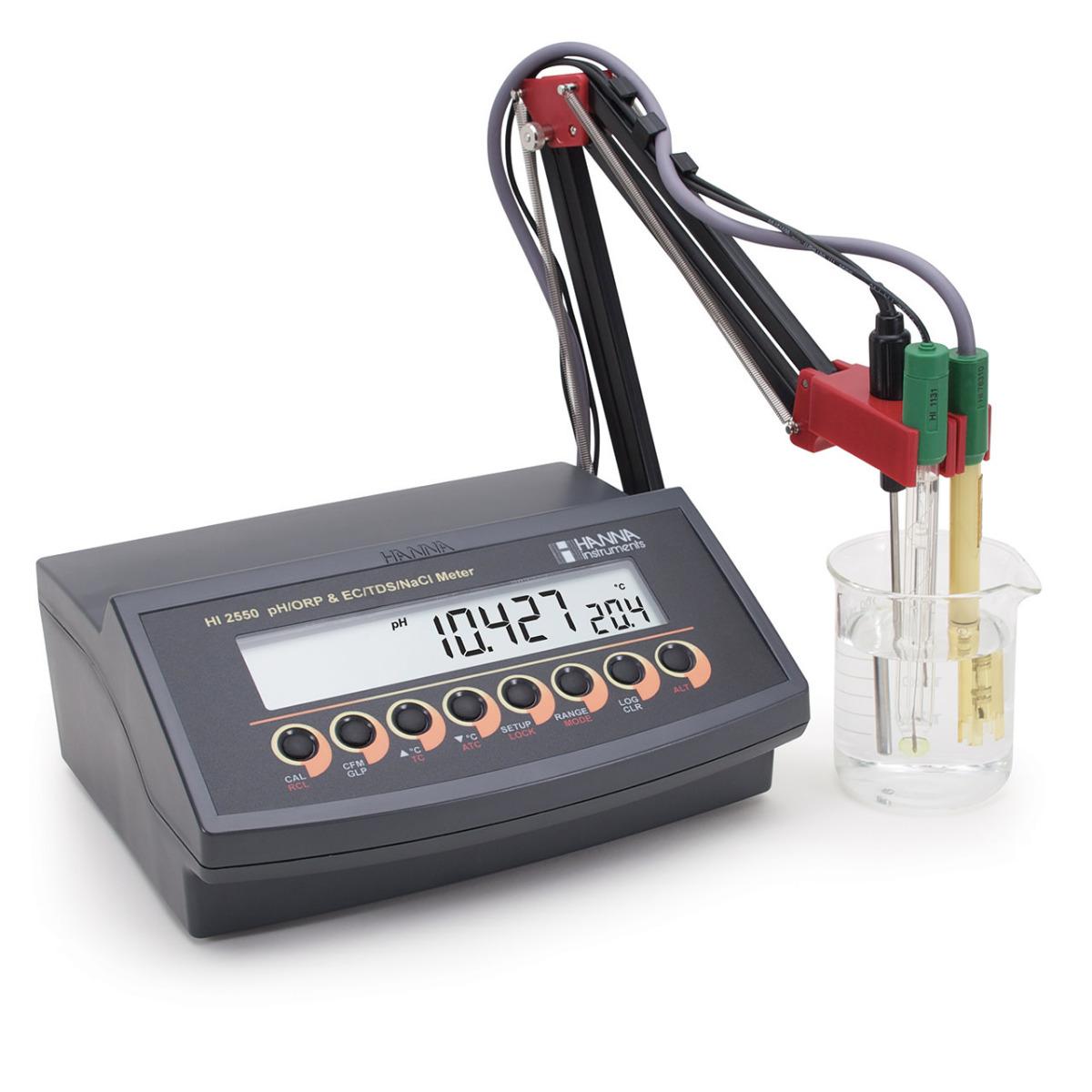 HI2550 Multiparameter pH/ORP/ISE and EC/TDS/Salinity Benchtop Meter