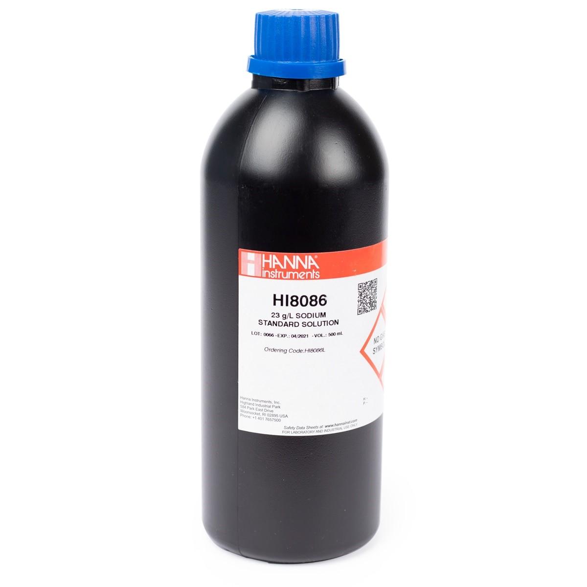 HI8086L Standard Solution at 23 g/L Na+ (500 mL) FDA bottle