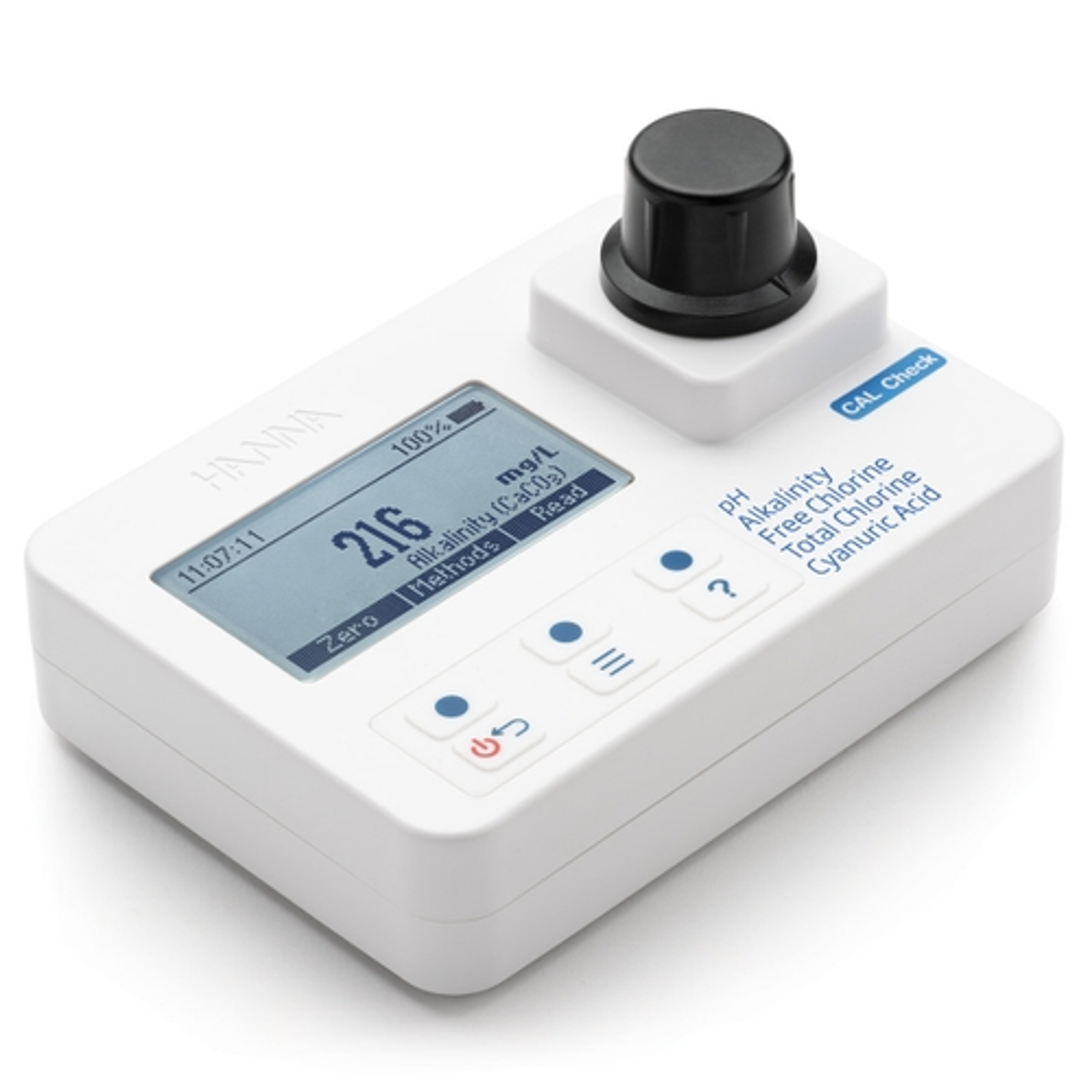 pH, Alkalinity, Free Chlorine, Total Chlorine, and Cyanuric Acid Photometer - HI97104