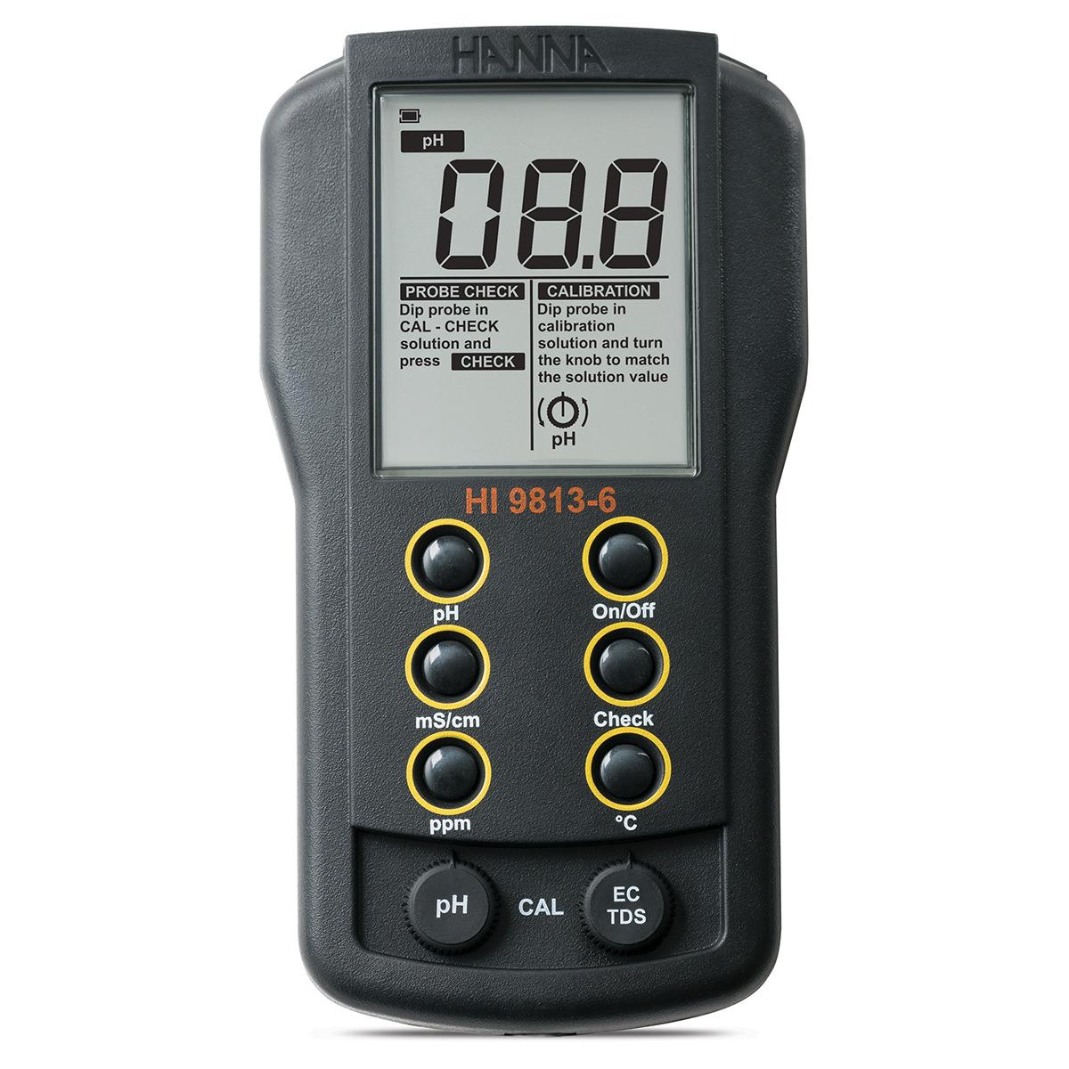 Portable pH/EC/TDS/Temperature Meter with CAL Check™ - HI9813-6