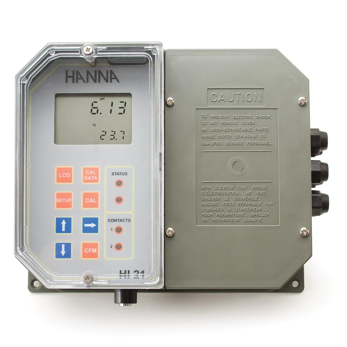 Wall Mounted pH Digital Controller with Dual Setpoint - HI21211